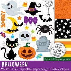 Halloween Elements - Clipart and digital paper set