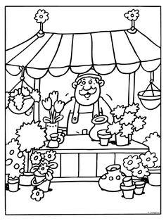 Kleurplaat Bloemenkraam op de markt - Kleurplaten.nl Rainy Day Activities, Kids Learning Activities, House Colouring Pages, Coloring Pages, Coloring For Kids, Adult Coloring, Drawing For Kids, Art For Kids, Projects For Kids