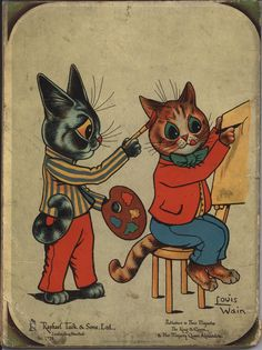 LOUIS WAIN'S MERRY MASCOT - I'm having a bit of a Louis Wain moment. They remind me of my mom who collected his work. POSTCARD PAINTING BOOK