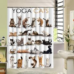 Cute Animal Yoga Cats Shower Curtain High Qulity Polyester Fabric Design Waterproof Eco-friendly With 12 hooks - Luxury Designer Fixures Cute Cat Shower Curtain, Custom Shower Curtains, Bathroom Shower Curtains, Fabric Shower Curtains, Animal Yoga, Elephant Shower, Fabric Animals, Curtain Patterns, Gatos