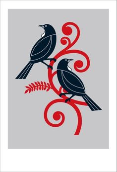 Check out the deal on Two Tui by Greg Straight at New Zealand Fine Prints Art Maori, Maori Symbols, Maori Patterns, Zealand Tattoo, Maori Designs, New Zealand Art, Nz Art, Kiwiana, Bird Stencil