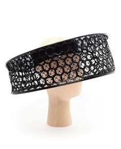 Alexander McQueen patent leather and honeycomb lace Beekeeper Visor