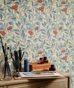 $80.67 Price per roll (per m2 $15.42), Vintage wallpaper, Carrier material: Paper-based wallpaper, Surface: Smooth, Look: Hand printed look, Matt, Design: Leaves, Blossoms, Fruits, Basic colour: Cream, Light olive grey, Pattern colour: Antique pink, Beige grey, Green blue, Pastel blue, Characteristics: Lightfast, Wet removable, Paste the wallpaper, Water-resistant