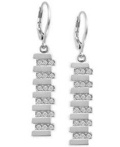 T Tahari Silver-Tone Pave Linear Drop Earrings  - Silver