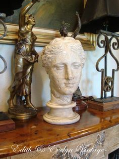 Vintage French Bust Statue Plaster Louvre Museum by edithandevelyn on Etsy