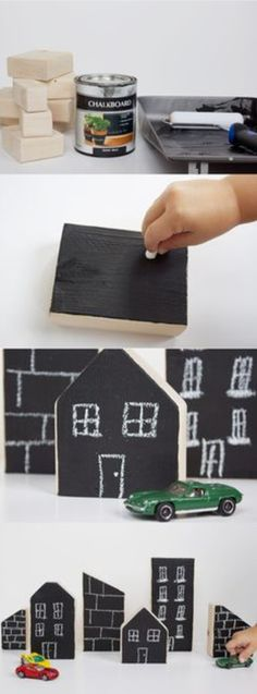 We love how simple yet creative these DIY Chalkboard City Blocks are! Using a few pieces of wood, chalkboard paint, and a bit of imagination, you can make this homemade toy for your kids to enjoy over and over.