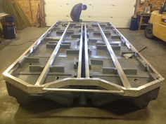 Build your own pontoon boat: New Wave Docks Pontoon Houseboat, Houseboat Living, Pontoon Boat, Floating Boat Docks, Floating House, Party Barge, Floating Architecture, Shanty Boat, Boat Projects