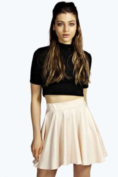 $7, Boohoo Tia Wet Look Skater Skirt. Sold by BooHoo. Click for more info: https://lookastic.com/women/shop_items/263651/redirect