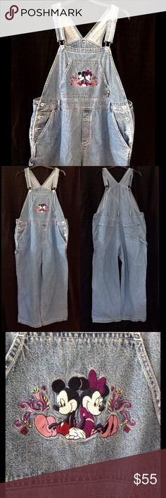 """Vintage 1990s MICKEY UNLIMITED denim bib overalls These size 18W denim overalls are in good used condition.  The only flaws I have found are some wear on the back of the cuffs and a couple tiny stains on the left knee.  See last pic.  The fabric does not stretch and is 100% cotton.  The brand is MICKEY UNLIMITED.  The bib on the ovalls features Mickey and Minnie Mouse.  I measure the waist at approx 42 inches and the inseam length at approx 27"""".  Color may look different on your screen…"""