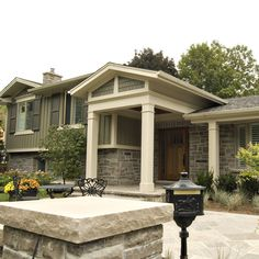 Split level exterior makeover google search pinteres for Side split house designs