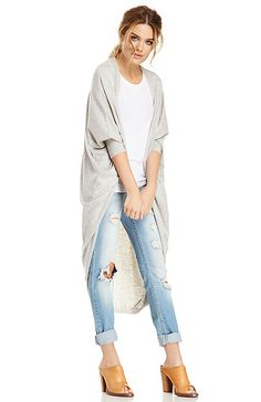 Glamorous Long Cocoon Cardigan in Gray XS - L | DAILYLOOK
