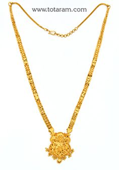 22K Gold Long Necklace - GN1595 - Indian Jewelry from Totaram Jewelers