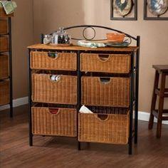 ICYMI: Rustic Wicker Cabinet Storage Bins 6 Baskets Organizer Kitchen Bathroom Black