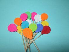 24 Ballon Party Picks / Die Cut Party Picks / Birthday Party Picks / Kids Party Picks / Cupcake Toppers