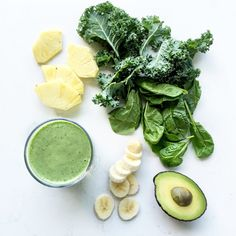 Tropical Green Smoothie 1/2 c. each packed fresh kale and spinach 1/2 c. chopped pineapple 1 banana 1/4 c. Greek yogurt 1/4 of an avocado 1/2 c. milk 4 ice cubes