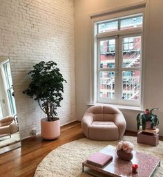 The texture of the wall and the rug match each other very well in regards to visual weight. The plants add a nice organic element.