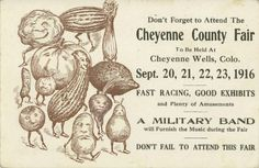 Cheyenne Wells CO county fair agriculture postcard/ad