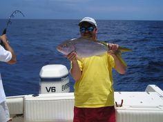 Fishing Report: A 7 pound Yellowtail caught at Memory Rock, near West End.  Wow, that's a big fish!