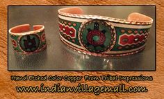 Hand Etched Color Copper Turtle Overlay Bracelet And Ring- Tribal Impressions- www.indianvilagemall.com