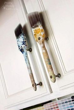 Old Paint Brush Door Handles. Cute for a craft room or craft storage cabinet.