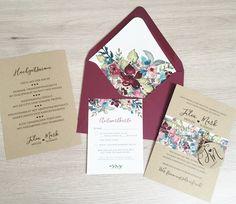 Bei unserer Vintage-Serie haben wir uns für eine Kombination aus Kraftpapier und einem passenden Blumenmuster für die Banderole sowie das Inlay des Briefumschlages entscheiden. Der Druck erfolgt...