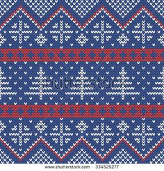 Christmas knitting seamless pattern with fir trees in Red, Dark Blue and White. Perfect for wallpaper, wrapping paper, pattern fills, winter greetings, Christmas and New Year greeting cards