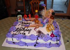Drunk Barbie Cake - 21st Birthday Cake love! I think this is what bailey is getting for her bday. Especially with little bottles of booze.