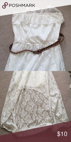 White Hi-Lo lace Dress size medium from Macys! Worn once and in perfect condition Macy's Dresses High Low