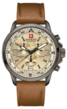 Swiss Military Men's Quartz Watch with Beige Dial Chronograph Display and Brown Leather Strap Amazing Watches, Beautiful Watches, Cool Watches, Watches For Men, Army Watches, Fine Watches, Pocket Watches, Stylish Watches, Luxury Watches