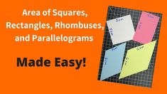 In this video we are going to discuss how to find the area of squares, rectangles, rhombuses, and parallelograms using one simple formula. Two Dimensional Shapes, Squares, Make It Simple, Bar Chart, Easy, Bobs, Bar Graphs