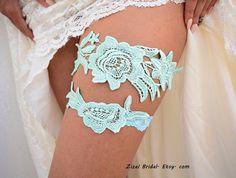 Mint Lace GarterLace Bridal Garter Lace Wedding by ZizelBridal