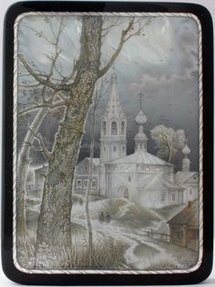 Kozlov Sergey, Fedoskino lacquer box, Village Church