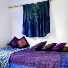 Moroccan Style bedroom decorated in Orchid Purple and Indigo Blue.