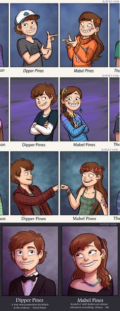 Dipper & Mabel school pictures- Gravity Falls