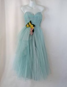 1950s Sky Blue Strapless Tulle Party/Prom Dress by Will