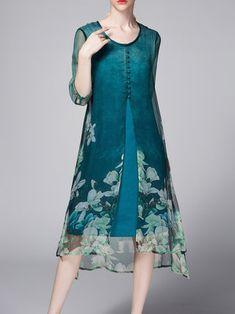 Green Floral-print Casual Silk Midi Dress
