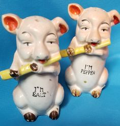 Bacon Bits, Salt And Pepper Set, Flutes, Salt Pepper Shakers, Pigs, Farm Animals, Piggy Bank, Collections, Stuffed Peppers