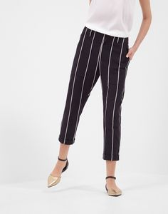Striped cotton jersey Baggy Utility trousers