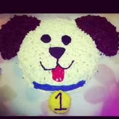 Puppy Cake, but in purple Puppy Birthday Cakes, Spiderman Birthday Cake, Dog Birthday, Birthday Ideas, Dog Cupcakes, Pull Apart Cupcakes, Cupcake Cakes, Puppy Dog Cakes, Chocolate Cake Designs