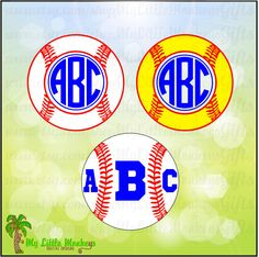 Monogram Baseball Softball Set 2 Frame Base Design Digital Cut File Clipart Instant Download Full Color 300 dpi Jpeg Png SVG EPS DXF formats - pinned by pin4etsy.com