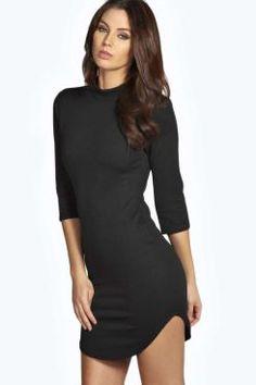 Lauren 3/4 Sleeve Curved Hem Bodycon Dress