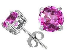 Round 7mm Created Pink Sapphire Earring Studs in Sterling Silver