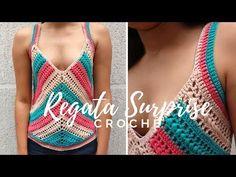 Regata Surprise em Crochê ♥ Técnica Inédita! - YouTube Crochet Quilt, Crochet Tunic, Crochet Clothes, Crochet Stitches, Knit Crochet, Crochet Patterns, Pull Crochet, Free Crochet, Bikini Crochet