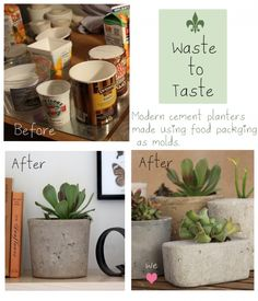 What a great idea and fun project Diy Cement Planters, Cement Crafts, Garden Planters, Planter Pots, Spring Garden, Lawn And Garden, Diy General, Ways To Recycle, Recycling Bins