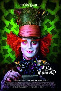 Alice in Wonderland movie poster with Johnny Depp, Mia Wasikowska, Anne Hathaway, and Helena Bonham Carter durected by Tim Burton