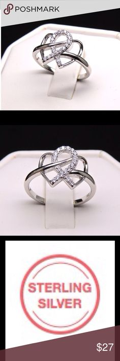 Infinity Hearts Ring Sterling Silver .925 Infinity Hearts AAA CZ Ring Ginger Lyne Collection Jewelry Rings