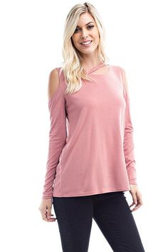 Rose Pink Long Sleeve Cold Shoulder Tunic Top