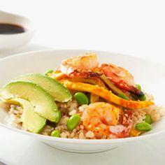 Shrimp avocado rice  bowl http://www.fitnessmagazine.com/recipes/quick-recipes/dinner/fat-fighting-meals-7-flat-belly-dinner-recipes/?page=2