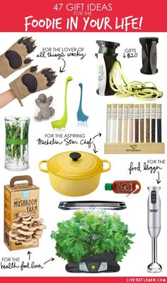 47 gift ideas for the foodie in your life! Healthy food lovers, aspiring chefs, food bloggers...this is a holiday/Christmas gift guide for every kind of food lover in your family! // Live Eat Learn