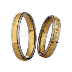 Dwukolorowe obrączki ślubne z kolekcji Saint Maurice z krawędziami z białego złota i rzędem brylantów - Obrączki ślubne - GESELLE Jubiler